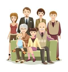 Cartooned Big Happy Family at the Sofa vector image vector image