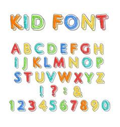 colorful doodle alphabet vector image