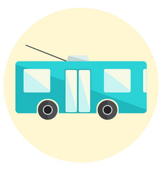 cute little flat trolley bus icon vector image
