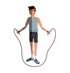 man sport jumping rope exercise design graphic vector image