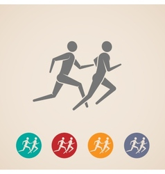 running or jogging men icons vector image
