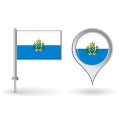 San Marino pin icon and map pointer flag vector image vector image