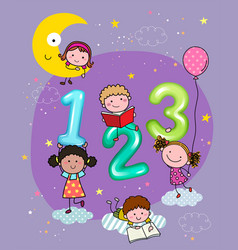 123 numbers with hand-drawn kids vector