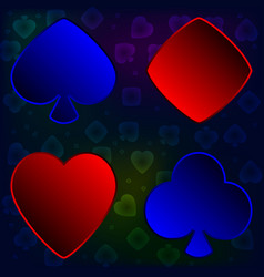 a set of card suits for poker vector image