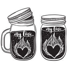 a set of juices in glass jars with fire heart vector image