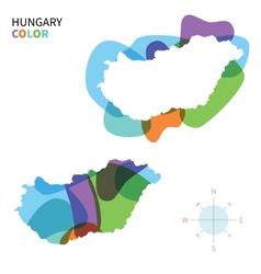 Abstract color map of Hungary vector image