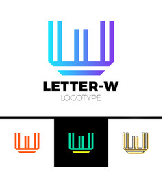 abstract letter w m logo design template line vector image