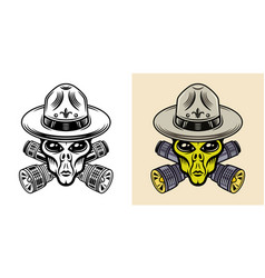 alien boy scout with flashlights two styles black vector image