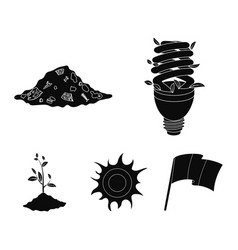 An ecological lamp the sun a garbage dump a vector