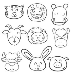 animal head design of doodle style vector image