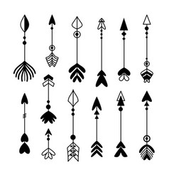 Arrow archer bow hand drawn icon set vector