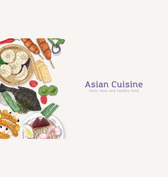 asian cuisine hand drawn banner template vector image