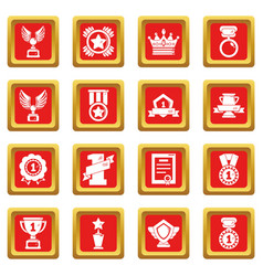 awards medals cups icons set red square vector image