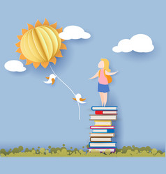 Back to school card with girl books and sun vector