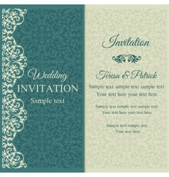 Baroque invitation blue and beige vector image