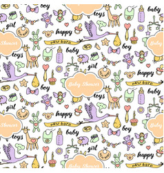 Bashower doodle and lettering seamless pattern vector