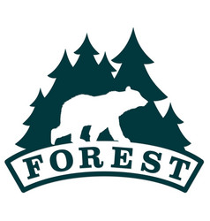Bear symbol with forest vector