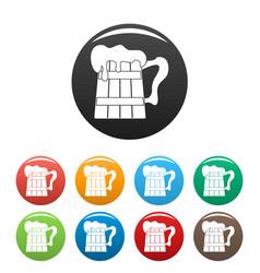 big beer mug icons set color vector image