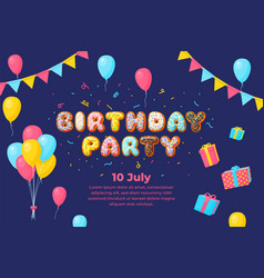 birthday kids party banner balloons card vector image
