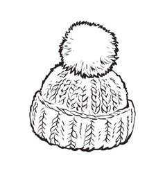 Bright winter knitted hat with pompon vector image