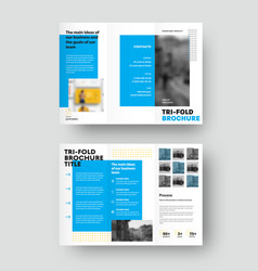 Brochure template with geometric blue design vector