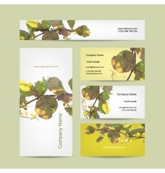 Business cards design abstract leaf background vector