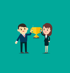 Businessman and businesswoman show gold trophy vector