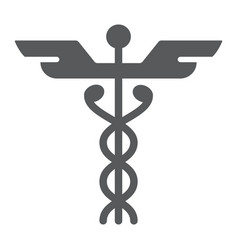 caduceus glyph icon medical and hospital vector image