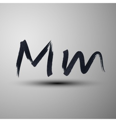calligraphic hand-drawn marker or ink letter M vector image