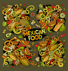 Cartoon set of mexican food doodles design vector