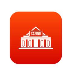 Casino building icon digital red vector