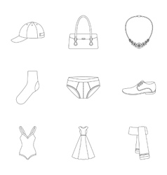 Clothes set icons in outline style Big collection vector image