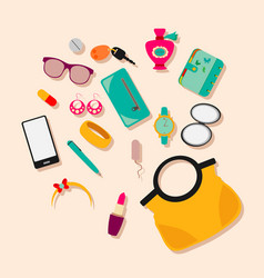 Composition female bag with accessories vector
