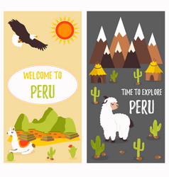 Concept poster of peru with lama and landmarks vector