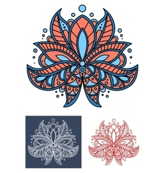 Coral persian paisley flower with blue elements vector image
