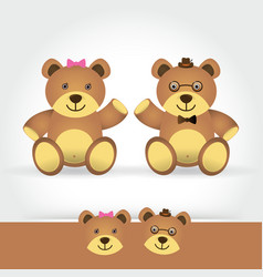 couple teddy bear on white background vector image