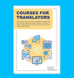 Courses for translators brochure template layout vector