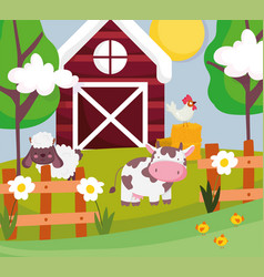 cow sheep and rooster in hay barn fence trees farm vector image