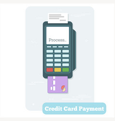 credit card payment concept in line art style vector image