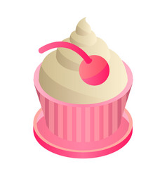 cupcake icon isometric style vector image