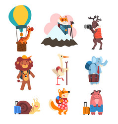 Cute animals cartoon characters traveling on vector