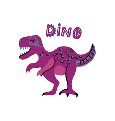 cute cartoon hand drawn dinosaur with words vector image