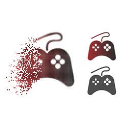 Disintegrating dot halftone gamepad icon vector