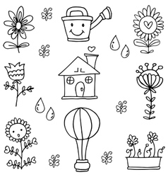 Doodle of spring with hand draw theme vector