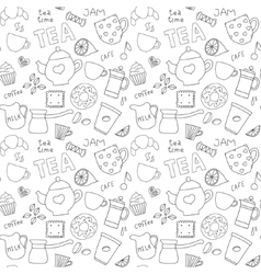 Doodle pattern with tea cups and sweets vector image