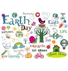 Earth day set vector image