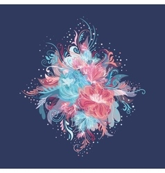 Enchanted Flowers Vignette in Pink and Blue Colors vector image