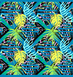 Exotic leaves summer funky seamless pattern vector