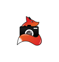 Fox camera photography logo design template vector