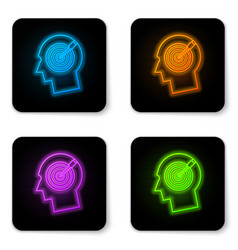 glowing neon head hunting concept icon isolated vector image